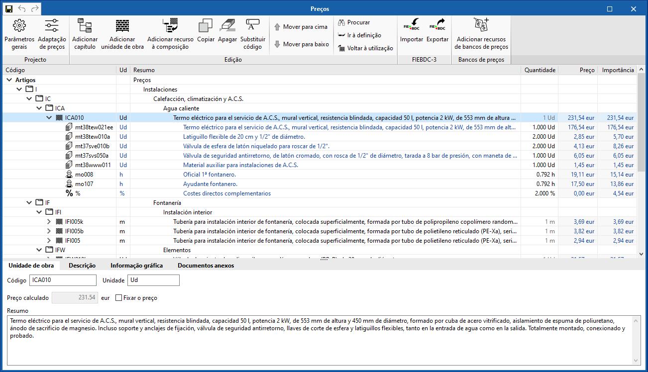 """Separador """"Orçamento"""" nas aplicações Open BIM da fase de projeto"""
