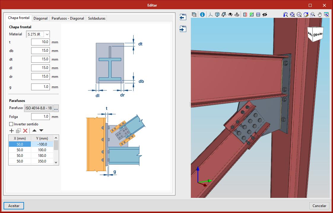 StruBIM Steel. Ligação entre pilar, viga e diagonal