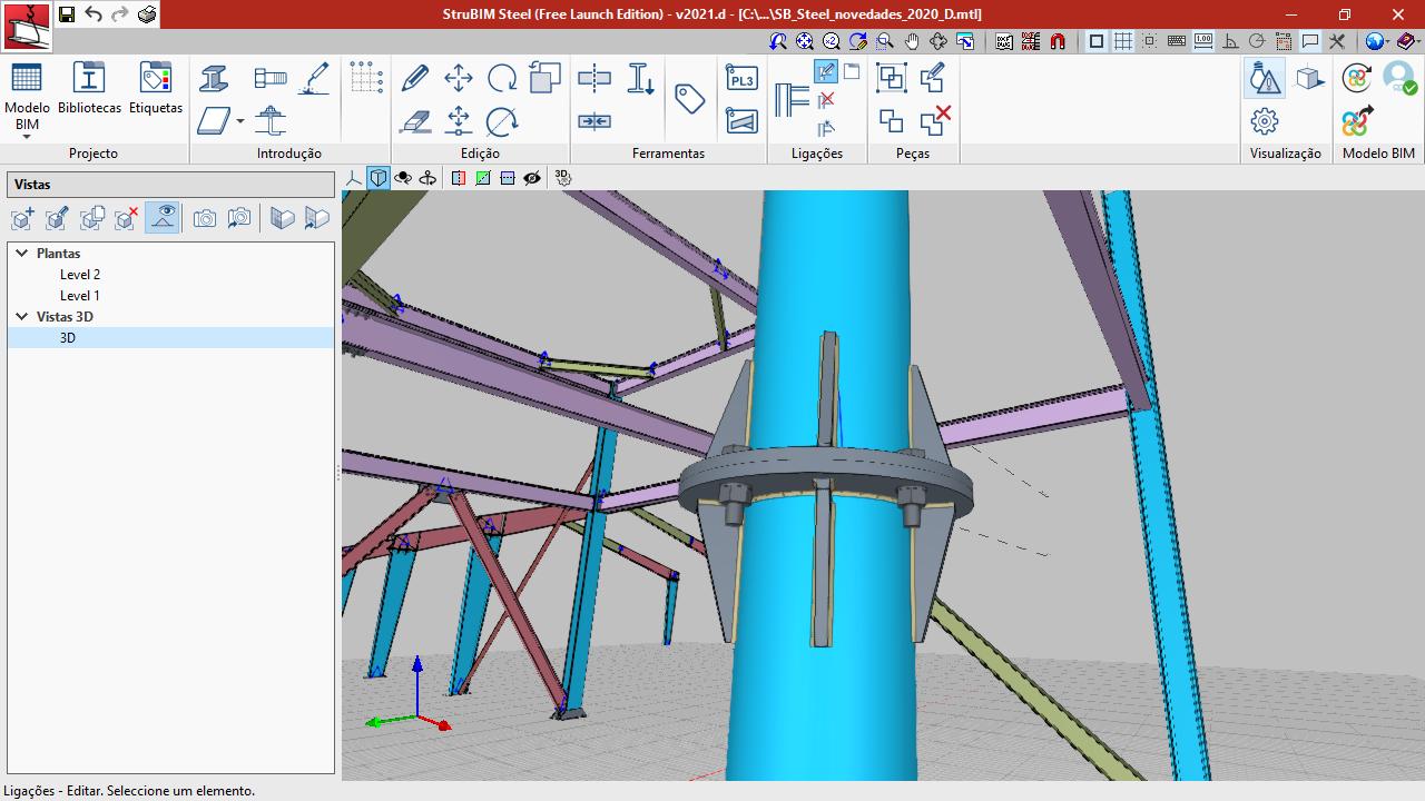 StruBIM Steel. Emendas de tubos circulares