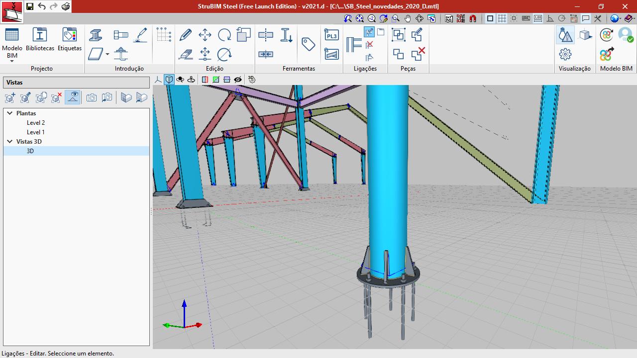 StruBIM Steel. Placa de amarração para tubos circulares